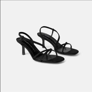 Zara square toe strappy sandals